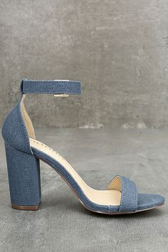 Shine bright day or night in the Morela Denim Ankle Strap Heels! Soft denim fabric is cute and casual across these single sole heels with a peep toe, structured heel cup, and matching ankle strap with gold buckle.
