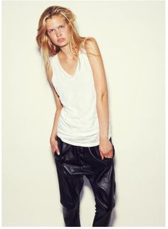 Russh online,  Heritage bind singlet  Relaxed leather pant