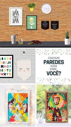 Parede Decorada com mimos, quadrinhos e luzinhas, faça você mesmo, galeria Wall Done Blog Remobilia