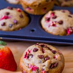 Skinny Strawberry Chocolate Chip Muffins - guilt free ;-)