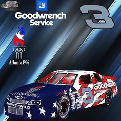 Dale Earnhardt's 1996 GM Goodwrench Chevrolet Monte CarlO SS driven in The Winston. The patriotic paint scheme honors the United States Olympic Team's upcoming appearance in Atlanta Nascar Crash, Nascar Racing, Auto Racing, Dale Earnhardt Crash, Nascar Champions, The Intimidator, Real Racing, Nascar Diecast, Chevrolet Monte Carlo