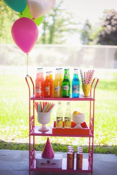 Drink cart from a Rainbow Unicorn Themed Birthday Party