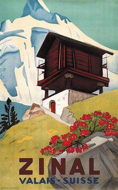 Vintage Travel Poster - Zinal - Valais - Switzerland by Eric Hermes Mehr Ski Posters, Art Deco Posters, Cool Posters, Art Deco Illustration, Tourism Poster, Poster S, Vintage Ski, Vintage Travel Posters, Hermes Vintage