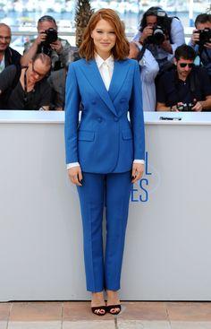 2014 Cannes Film Festival - Lea Seydoux in Prada Saint Laurent 2014, Fashion Mode, Star Fashion, Womens Fashion, Miuccia Prada, Miu Miu, Lea Seydoux, Lawyer Fashion, Bright Blue Eyes