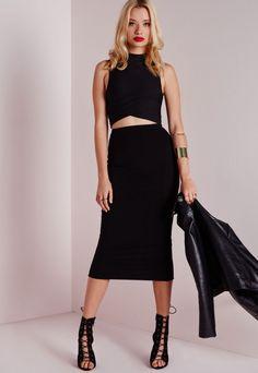 Longline Jersey Midi Skirt Black - Skirts - Missguided