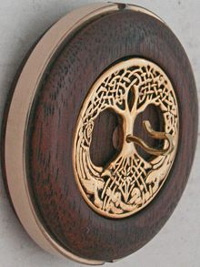 """CELTIC TREE OF LIFE V""         (gold plated)    2"" Walnut Whorl  Gold Plated Inset  Bronze Alloy Ring  0.84 oz    $97"