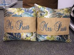 Pillow Band Wrap  Burlap Monogrammed by MarriageAndCarriages, $20.00