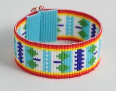 Purple & 24k Gold Arrows Bead Loom Bracelet Bohemian Boho