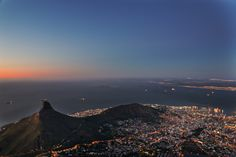 Sunset from Table Mountain with Lions Head in the distance Table Mountain, African Beauty, Cape Town, South Africa, Scenery, Mountains, City, Beach, Pictures