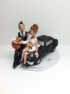 Custom Bride and Groom on Classic Car Wedding by BarbarasClayMagic