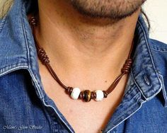 Handcrafted Mens Leather Necklace, Men's Choker, Brown Leather, Tiger Eye, White Magnesite Stone, Tribal Necklace for Men