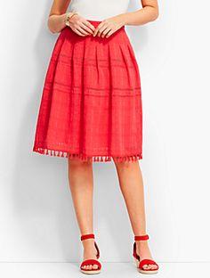 Tassel-Trimmed Pleated Skirt