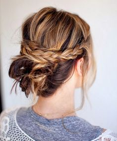 Pinterest hair buns Criss-Cross Braided Bun  Take one look at this hairstyle and try to convince yourself that a few flyaways aren't the coolest thing ever. Start by running a texturizing cream like Bumble and Bumble Bb. Texture Hair (Un)Dressing Creme ($14) through your strands, tease the crown, and leave out two one-inch sections on both sides of your part. Then, pin the rest back into a messy bun and create two classic three-strand braids with the loose pieces, criss-crossing and pinning…