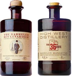 High West Barreled Boulevardier & 36th Vote Barreled Manhattan.  Barrel-aged for four months, each of these #whiskey #cocktail spirits was crafted by the first distillery in Utah since Prohibition.   @Caskers