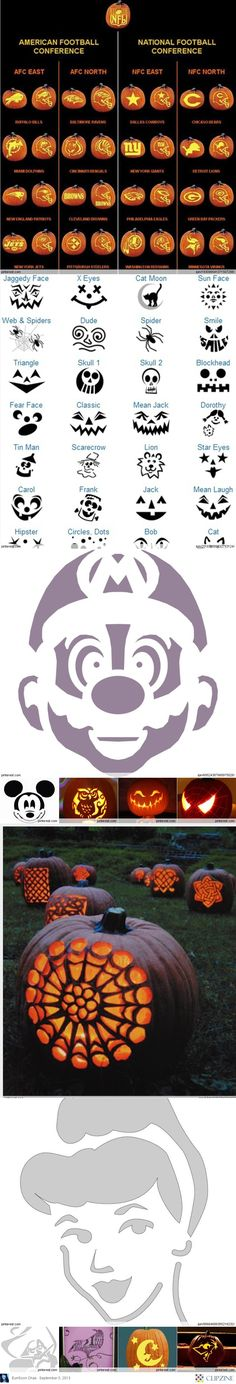 Pumpkin Carving Patterns - guess we'll be carving multiple pumpkins this year!