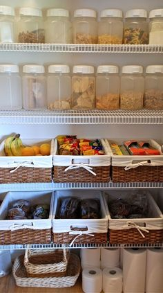 don't need tons of space for boxes and other processed food... baskets for fruits, containers for nuts and seeds and other yummy things