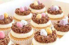 Chocolate Mini Egg Nests on top of a Vanilla Cupcake 🐣 | instagram.com/laurascakes_x Egg Cupcakes, Vanilla Cupcakes, Mini Cupcakes, Egg Nest, Cake Craft, Mini Eggs, Sugar Craft, Nests, Cake Decorating