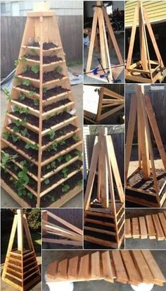 Today in how to: How to build a vertical garden pyramid tower … - Diy Garden Projects Diy Garden Projects, Outdoor Projects, Garden Ideas, Wood Projects, Vertical Vegetable Gardens, Vegetable Gardening, Tower Garden, Garden Types, Raised Garden Beds