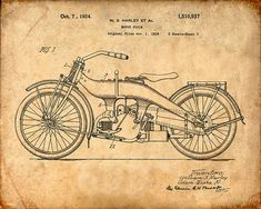Harley Motorcycle Patent Art Print  Harley by VisualDesign on Etsy, $6.95