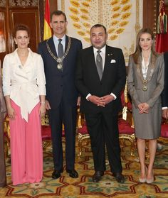 Princess Lalla Salma of Morocco, King Felipe VI of Spain, King Mohammed VI of Morocco and Queen Letizia of Spain pose for a photo in the Royal Palace on July 14, 2014 in Rabat, Morocco. The new King and Queen of Spain are on a two day visit to Morocco.