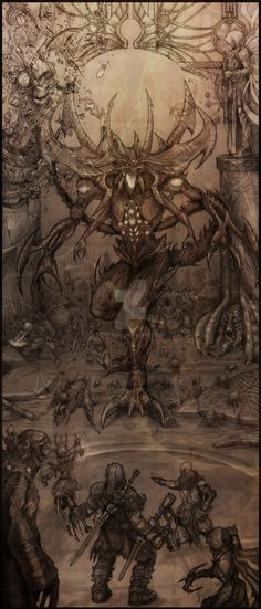 This is my artwork for Blizzard's Diablo contest. Diablo The Lord of Terror Fantasy Warrior, Fantasy Rpg, Dark Fantasy, Monster Sketch, Monster Art, Diablo Characters, Blizzard Diablo, Diablo Game, Vampire Masquerade