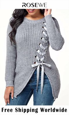 Lace Up Pullover Asymmetric Hem Sweater - Fashion Style Lace Sweater, Long Sleeve Sweater, Grey Sweater, Knit Lace, Pullover Mode, Pullover Sweaters, Women's Sweaters, Fall Sweaters For Women, Ladies Sweaters