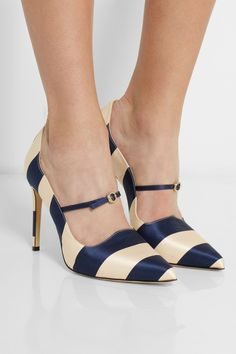 OMG    Bionda Castana | Renee striped satin pumps | NET-A-PORTER.COM