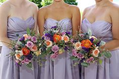 Garden inspired bridesmaids bouquets (Flowers by Lee Forrest Design, photo by: Heather Rice Photography)
