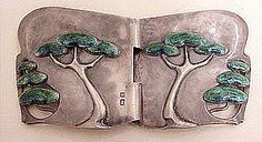 This rare Arts Crafts period buckle was made by the famous English designer Archibald Knox at Libery Co. Its flowing design depicts a grove of trees growing out of the Sterling buckle and highlighted by enamel. Archibald Knox, Jewelry Crafts, Jewelry Art, Custom Jewelry, Jewelry Design, Vintage Art, Vintage Jewelry, Art Nouveau Jewelry, Arts And Crafts Movement