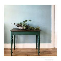 This rustic French table with dark green painted turned legs is full of character and has the most beautiful patina. It is in nice vintage condition with appropriate amounts of wear commensurate with age and originality. The wear is what makes the table so beautiful. For antique and vintage lovers only. DM for more details. French Table, Rustic French, West End, Find Furniture, Entryway Tables, Most Beautiful, Lovers, The Originals, Antiques