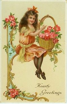 Girl with Basket of Roses Sits on Art Nouveau Trim.