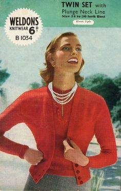 Vintage 1940s Twin Set with Plunge Neckline Knitting Pattern by HeirloomPatterns, $3.20