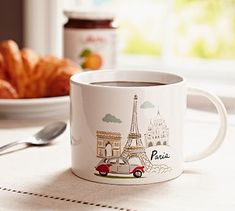 Paris Mug #potterybarn    for Molly? There are cool pillows too!