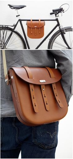 "megadeluxe:    Brooks England :: Leather Bag  Brooks England, the renowned maker of cycling seats and leather goods, brought in designer Ben Wilson and his students from The Royal College of Art and gave them a design brief: ""What would Mr. Brooks do next if he was alive today?"""