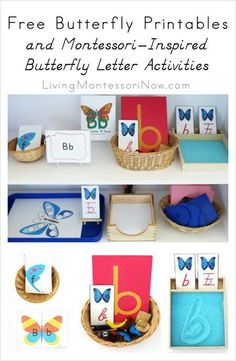 LOTS of free butterfly printables for classroom or home along with Montessori-inspired butterfly letter activity ideas for preschoolers and kindergarteners; emphasis on Montessori phonics. Montessori Education, Montessori Activities, Preschool Learning, Kindergarten Classroom, Kindergarten Activities, Toddler Preschool, Preschool Activities, Rainbow Activities, Preschool Prep