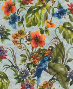 Exotic Parrots Blue Multi-Colour wallpaper by Albany