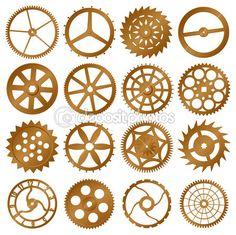 set vectorelementen voor ontwerp - koper horloge versnellingen — Stockillustratie #7303244