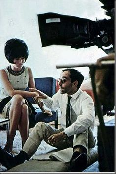 Brigitte Bardot and Jean-Luc Godard on the set of Le Mépris (1963).