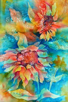 Creative Painting by Martha Kisling ~ Watercolor Gesso Sunflower. Love the blue in this. Abstract Watercolor, Watercolor Flowers, Watercolor Paintings, Watercolours, Art Floral, Flower Art, Painting & Drawing, Beautiful Flowers, Art Projects