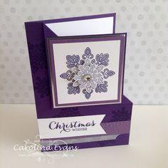 Carolina Evans - Stampin' Up! Demonstrator, Melbourne Australia: Flurry of Wishes - A Flip Corner card Flip Cards, Fancy Fold Cards, Folded Cards, Christmas Cards To Make, Xmas Cards, Holiday Cards, Purple Christmas, Christmas Holiday, Purple Cards