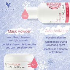 Revitalizáló maszk - hetente 2-3 alkalommal ajánlott a bársonyos, feszes, tiszta arcbőrért. Elkészítéséhez egy teáskanál Mask Powder–t egy teáskanál Aloe Aktivátorral keverj össze, amíg a keverék állománya homogén, sűrűnfolyó nem lesz. http://360000339313.fbo.foreverliving.com/page/products/all-products/5-skin-care/341/hun/hu Segítsünk? gaboka@flp.com Vedd meg: https://www.flpshop.hu/customers/recommend/load?id=ZmxwXzEzMzA5