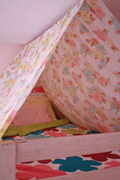 Canopy idea for over top of bunk bed; curtains down below for bottom bunk, so both kids have their own.