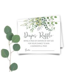 Printable Greenery Baby Shower  Diaper Raffle Ticket, Botanic Raffle Ticket Insert, Eucalyptus Diaper Raffle Ticket INSTANT DOWNLOAD