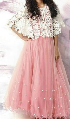 Youdesign Tulle Lace Cape Dress In Pink Colour To try in tatting Indian Gowns Dresses, Pakistani Dresses, Indian Outfits, Girls Dresses, Eid Outfits, Eid Dresses, Wedding Dresses, Long Gown Dress, Cape Dress