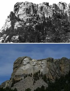 Mt. Rushmore, before and after, in South Dakota, USA