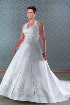 #idreammart  #weddingdress White Satin Plus Size Halter Top Wedding Dress with Cathedral Train - iDreamMart.com