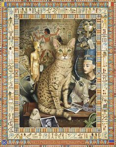 """""""The Egyptian Cat Conundrum"""" -- Geoffrey Tristram's charming new series of mysterious cats contains puzzles within puzzles. His work is well-known throughout the UK, where it has appeared on postage stamps, record sleeves, advertisements, and as still life images and fine portraiture.  He is known for his love of detail. More of his work at link, and enlargement at http://www.ebay.com/itm/Egypt-Egyptian-Cat-Print-LARGE-Canvas-Picture-Poster-Painting-NEW-Geoff-Tristram-/190819192482"""