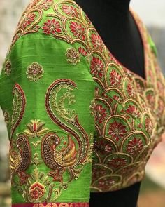 All Ethnic Customization with Hand Embroidery & beautiful Zardosi Art by Expert & Experienced Artist That reflect in Blouse , Lehenga & Sarees Designer creativity that will sunshine You & your Party Worldwide Delivery. Peacock Blouse Designs, Peacock Embroidery Designs, Wedding Saree Blouse Designs, Pattu Saree Blouse Designs, Designer Blouse Patterns, Fancy Blouse Designs, Blouse Neck Designs, Sleeve Designs, Maggam Work Designs