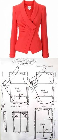 Jacket pattern from Armani this would be gorgeous in Cobalt blue, forest green, eggplant, and blackTucked and darted blazer patternjacket for deniz over pleated jacket Coat Patterns, Dress Sewing Patterns, Sewing Patterns Free, Clothing Patterns, Vogue Patterns, Vintage Patterns, Vintage Sewing, Blazer Pattern, Jacket Pattern