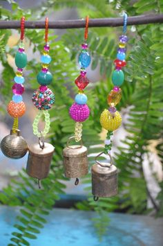 Xmas Tree Boho Bell Ornaments decoration-set of 6 Beaded Ornaments, Christmas Tree Decorations, Christmas Tree Ornaments, Holiday Tree, Xmas Tree, Beads After Beads, Handmade Christmas, Christmas Diy, Christmas Projects